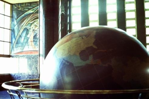Globe at Waterman Steamship Lines World Headquarters  in Mobile. AL. Photo credit: Sam Matteson 1969