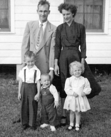 Lew with Audrey and children (L to R) Sammy Gene, Baby Dale and Cindy Lou. Flamingo Drive, Mobile, AL ca. 1953 Family Photo