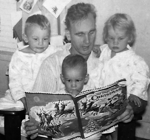 1951 The Night before Christmas with Dad cropped